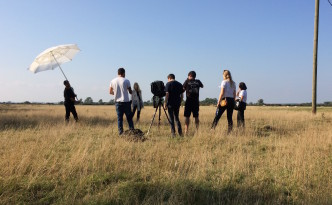 Behind the scenes of the Matches Fashion shoot in grassy fields of the Romney Marsh