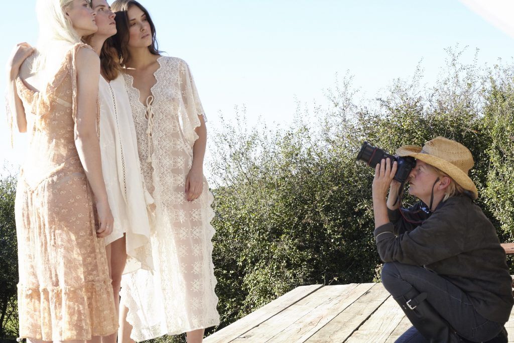 Wendy Carrig and models, on location at Lidham Hill farm in Sussex