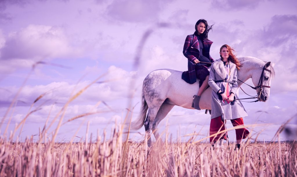 Ted Baker AW17 Fashion shoot horse duo